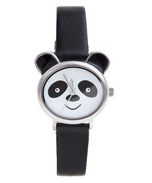Black (Black) Black and White Panda Watch  | 273980201 | New Look
