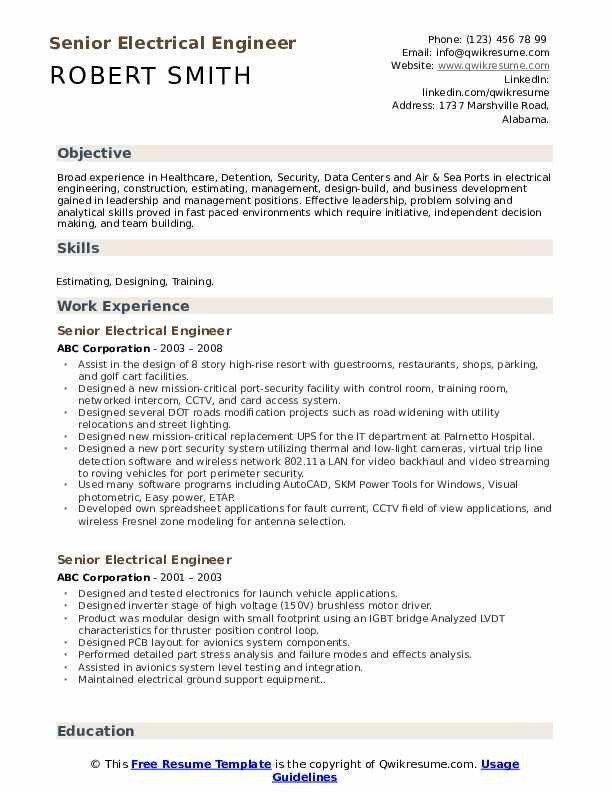 Senior Electrical Engineer Resume Samples Qwikresume Engineering Resume Engineering Resume Templates Electrical Engineering