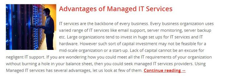 Advantages of Managed IT Services Read to know more, http://www.serversentry.com.au/advantages-of-managed-it-services/