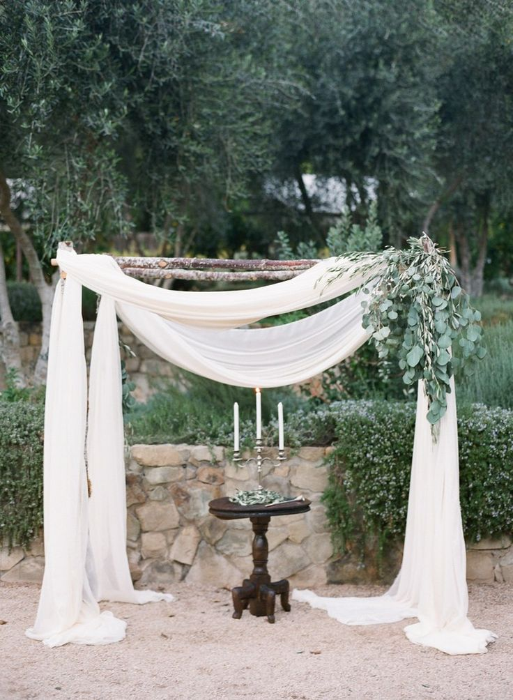 fabric and branches rustic wedding altar ideas
