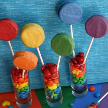 Rainbow Oreo Pops from: hoosierhomemade.com