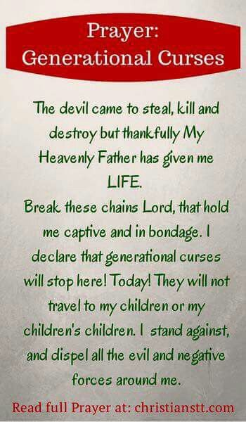 Break these chains Lord, that hold me captive and in bondage. I declare that generational curses will STOP HERE!!! TODAY!! RIGHT NOW!!