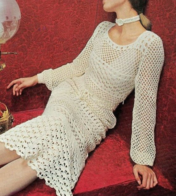 Crochet DRESS Pattern Vintage 70s Crochet Wedding Dress Pattern ...