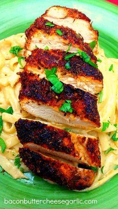BLACKENED CHICKEN WITH CAJUN FETTUCCINE ALFREDO -- Bacon, Butter, Cheese & Garlic: Double Spicy