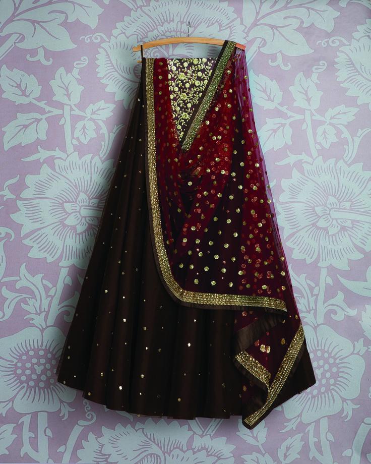 SMF LEH 368 17 I Dark coffee badla lehenga with kumkum red sequin dupatta and gold threadwork blouse