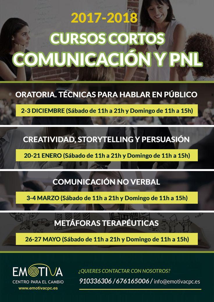 ¡Ya tenemos la nueva programación de nuestros Cursos Cortos de Comunicación y PNL 2017-2018!  #Oratoria #Creatividad #Storytelling #Persuasión #Cursos #Madrid #ComunicaciónNoVerbal #MetáforasTerapéuticas #PNL