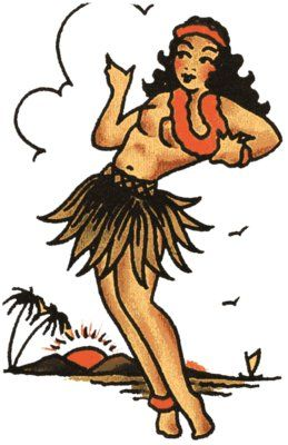 Hula Girl 2 - Vulture Graffix - Printed T shirts from $9.35US plus postage. Sailor Jerry,Tattoo Flash | Mail Order T Shirt, #Psychobilly #Rockabilly #ink #flash #tattoo #Vintage Tattoo Designs #TShirt #Sailor Jerry #Retro #Clothes