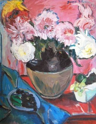 Still life with dahlias in a vase with fruit in a dish by Irma Stern