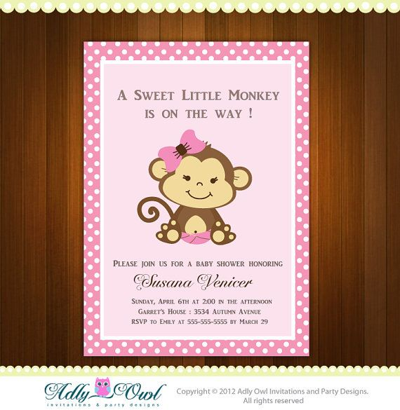 Personalized Pink or Purple/Lilac Girl Monkeys Baby Shower Printable DIY party invitation - ONLY digital file - you print