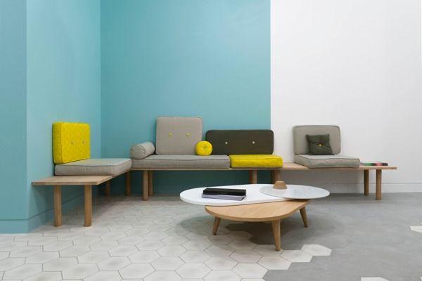 Teinte pour le cabinet mur bleu siège et fauteuil gris chaise verte