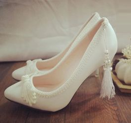 ==> [Free Shipping] Buy Best China style classical elegant retro white wedding shoes for woman TG369 fringed high-heeled shoes pointed bride wedding shoes Online with LOWEST Price   32704501261