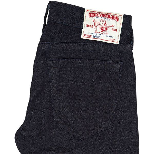 True Religion Indigo slim leg jeans ($180) ❤ liked on Polyvore featuring men's fashion, men's clothing, men's jeans, pants, indigo, mens indigo jeans and true religion mens jeans