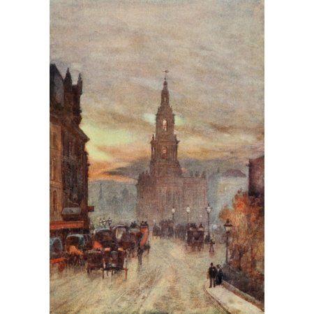Posterazzi Scenery of London 1905 St Mary le Strand Canvas Art - Herbert Marshall (24 x 36)