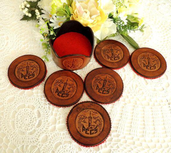 Vintage Set 6 Coasters & Holder Leather Felt Coasters