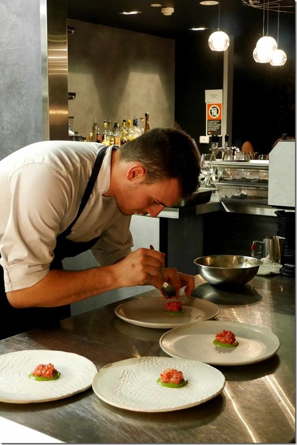 Plating up veal tartare at LuMi Bar & Dining, Pyrmont.   Just like the artistry of a musician whose senses are heightened by beautiful sounds, I love watching the creativity of chefs who expertly transform the aromas and flavours of fresh ingredients onto a plate #chef #masterchef