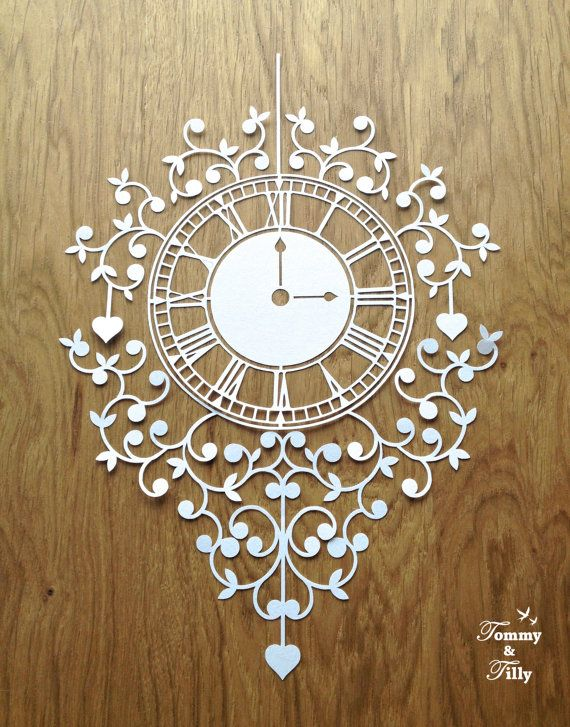 DIY Papercut Clock Design - with PERMISSION TO SELL FINISHED CUTS    Whether papercutting is your hobby or your business this design is
