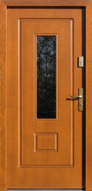 Drewniane wejściowe drzwi zewnętrzne do domu z katalogu modeli klasycznych wzór 572s1