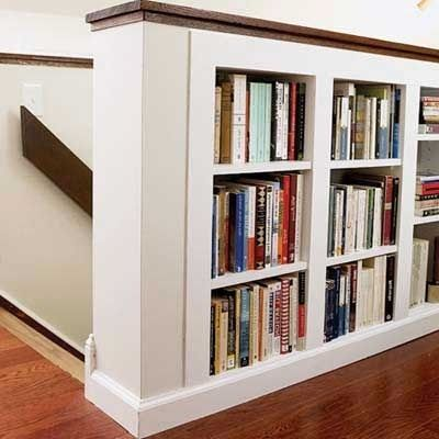 Built in bookshelves on the half wall
