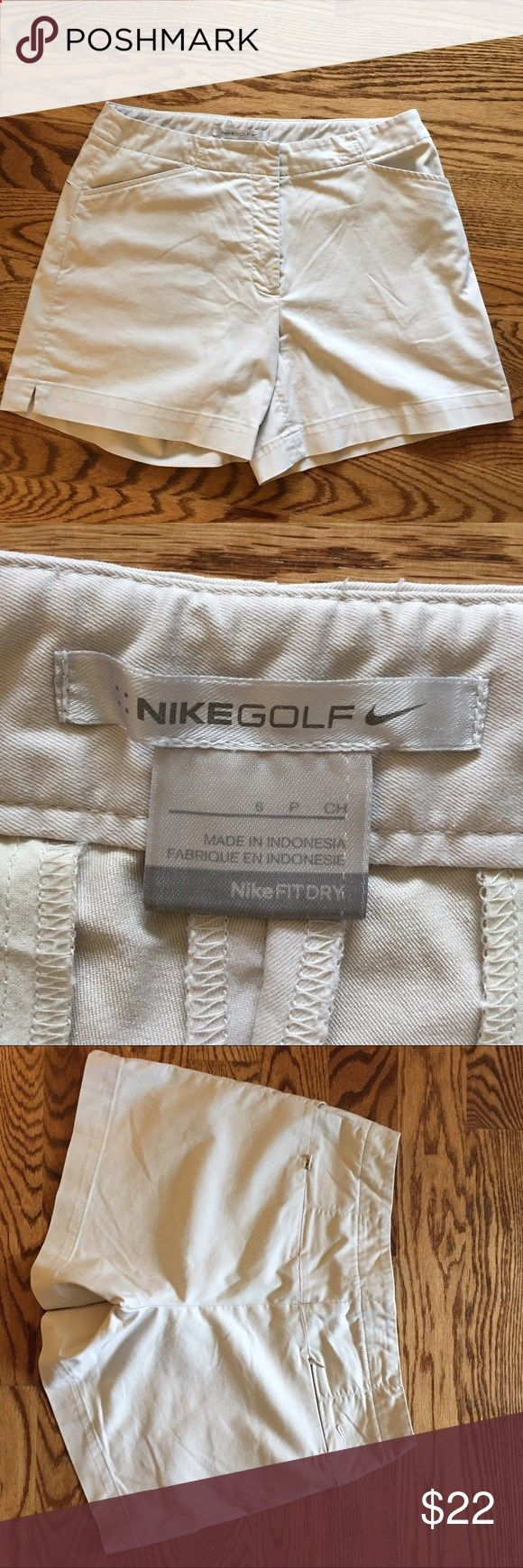 Nike fit dry golf shorts Womens Nike fit dry Golf shorts, size 6, 51% cotton 45% polyester 4% spandex, has a small tear in stitching which can be an easy fix. Nike Shorts