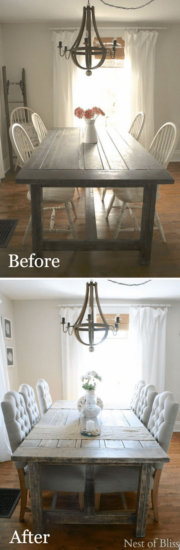 Simple dining table makeover with change the chairs before and after, get 18 more as ideas