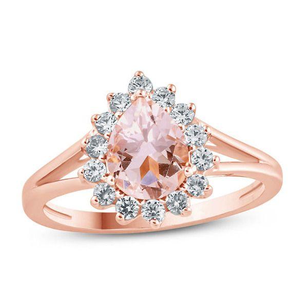 Pink 10K Rose Gold 1.20ct TW Morganite and Diamond Ring