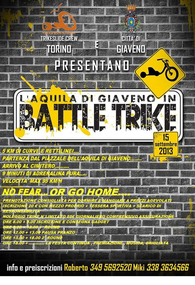 #Sport & #Adrenalina: Battle Trike il 15 settembre 2013 all'Aquila di #Giaveno #aboutvalsangone