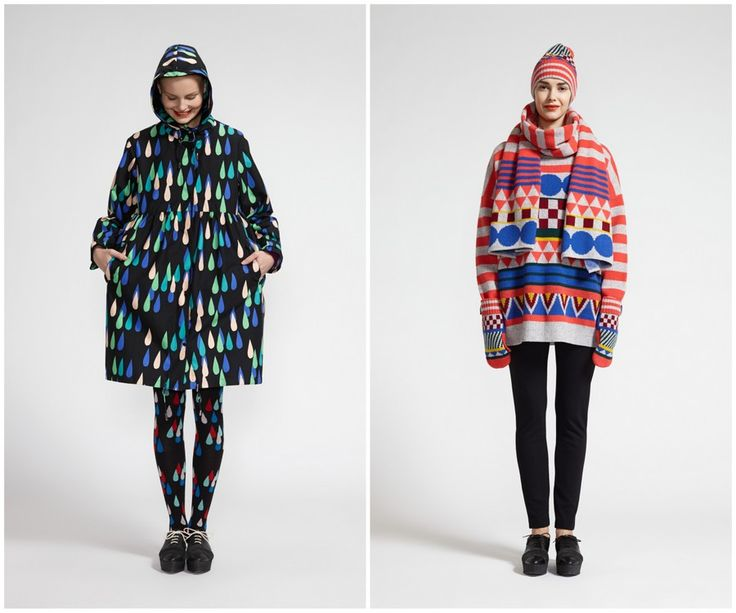 Finnish fashion brand Marimekko AW13 collection: Vesikko raincoat & Sveta knitted pullover, scarf, mittens and beanie. Click to see more: www.fashionflashfinland.com !