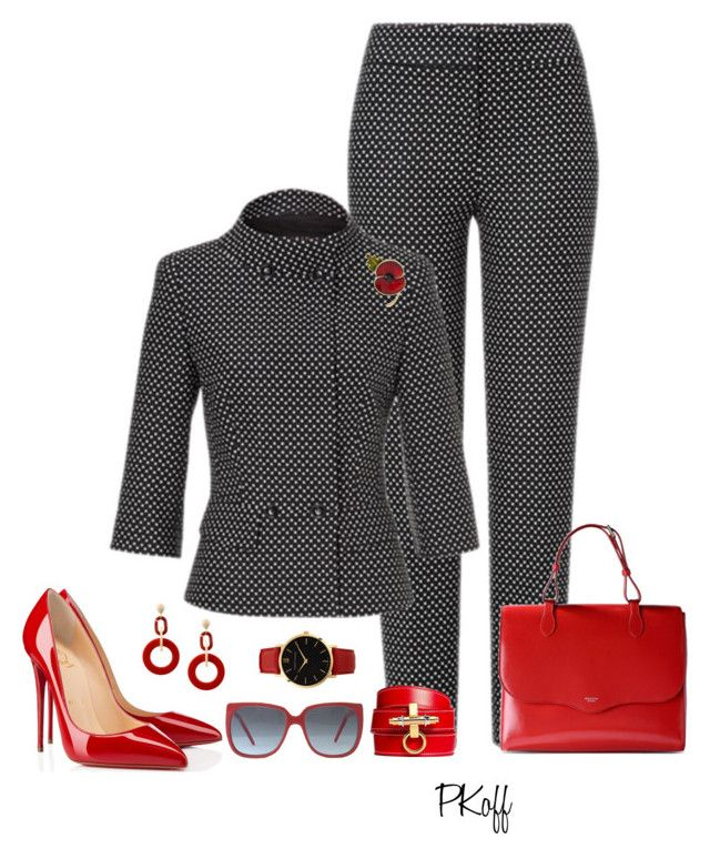 """Pantsuit"" by pkoff ❤ liked on Polyvore featuring ESCADA, Christian Louboutin, Larsson & Jennings, Rochas, Givenchy and Dettagli"