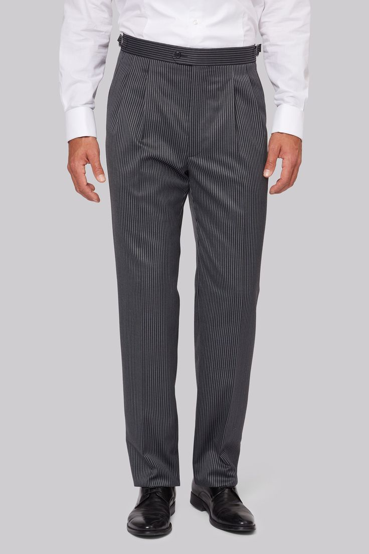 Moss Bros Regular Fit Grey and Black Stripe Complete your top hat and tails look with these grey and black morningwear trousers from Moss Bros. Ideal for race meetings and traditional weddings alike, these wool and polyester-blend trousers feat http://www.MightGet.com/january-2017-12/moss-bros-regular-fit-grey-and-black-stripe.asp