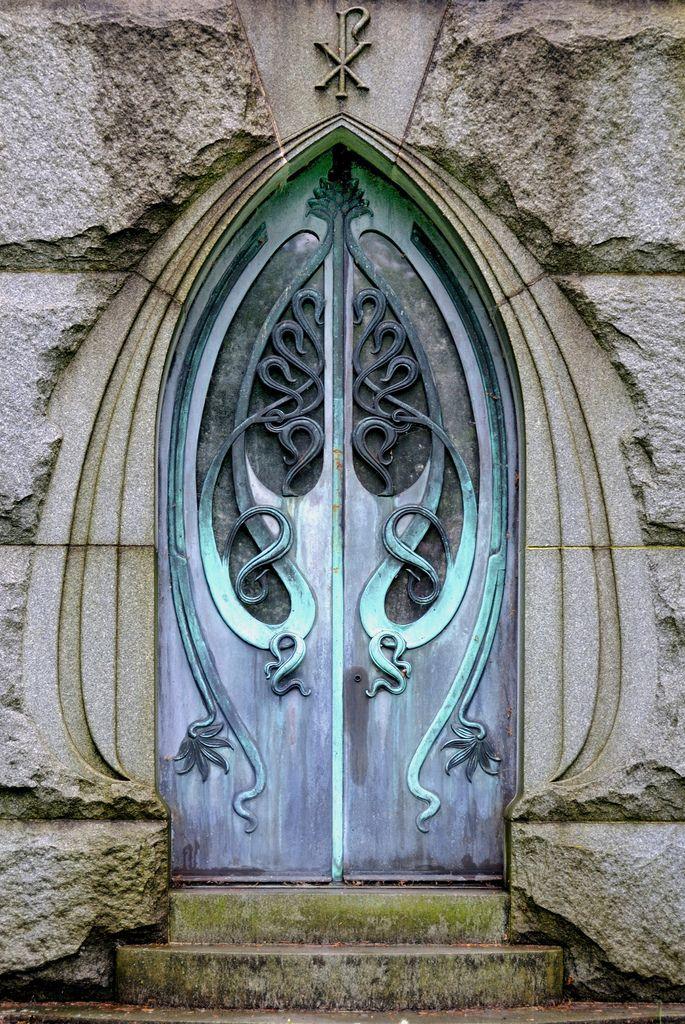 Art nouveau mausoleum door