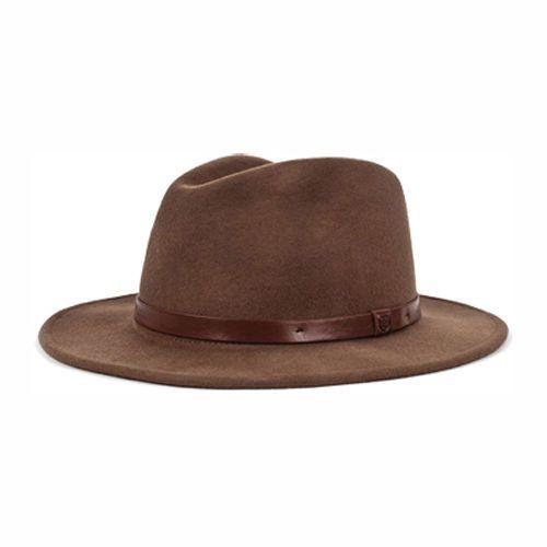Brixton Messer Fedora Skateboard Hat Felt Brown Leather Strap Medium