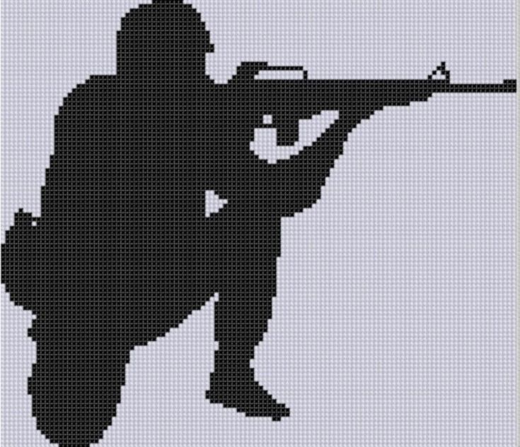 Soldier Silhouette Cross Stitch Pattern