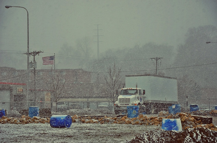 That's right. Snow in May at our truck driving school. Wow.