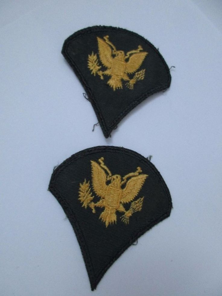 Eagle Army Green Fabric Shoulder Patch Specialist Rank Insignia x 2 Sew On VTG
