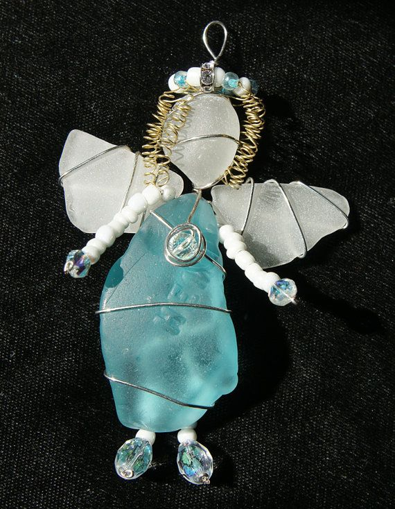 Sea Glass Angel with Turquoise Beach Glass Red Sea by oceansbounty, $25.00