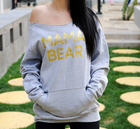 mama bear sweatshirt wide neck. Momma Bear. Mama Bear Off Shoulder Sweater. Sweater for mother to be - Lots of colors Mom to be  Welcome to
