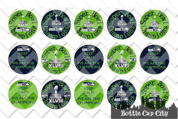 Seahawks SUPER BOWL 2014 CHAMPIONS Bottle Cap Images ~ Instant Download ~ on Etsy, $1.50