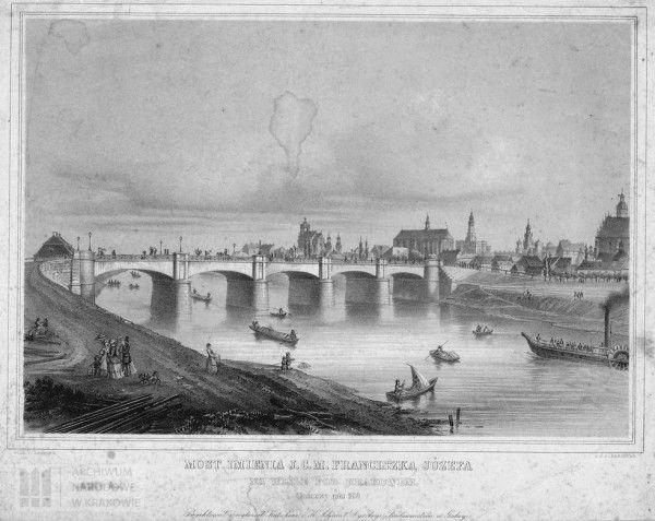 I B Dawny most Podgórski teraz kładka Bernatka - historia tu - http://www.dawnotemuwkrakowie.pl/miniatury/95-most-podgorki-i-kladka-ojca-bernatka/