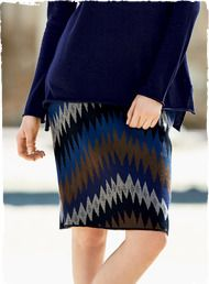 Graphic zigzags pattern our shapely, jacquard knit pencil skirt in blue, sepia, stone and black pima; back vent.