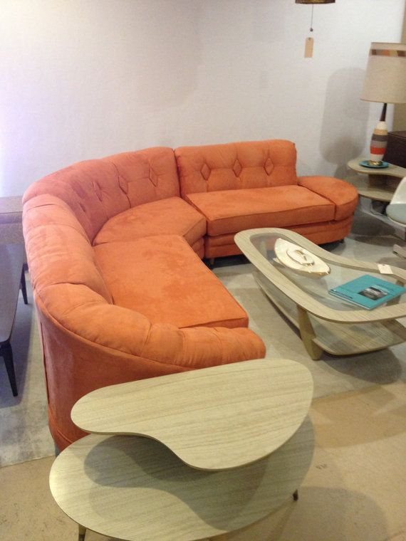 hold for dani midcentury modern orange sectional sofa curved mad men persimmon