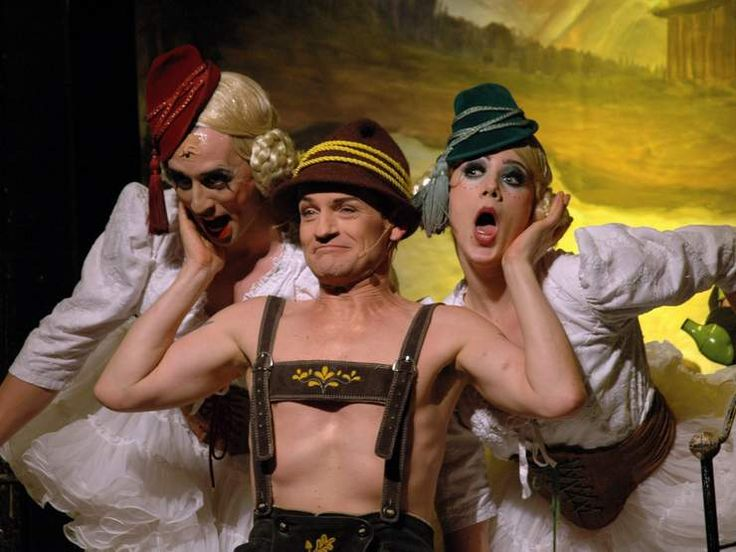 "OCTOBER 4, 2005 - BERLIN: Christoph Marti (of the group ""Geschwister Pfitzer"") and others at a rehearsal for the musical production ""Cabaret"", Bar jeder Vernunft, Berlin."