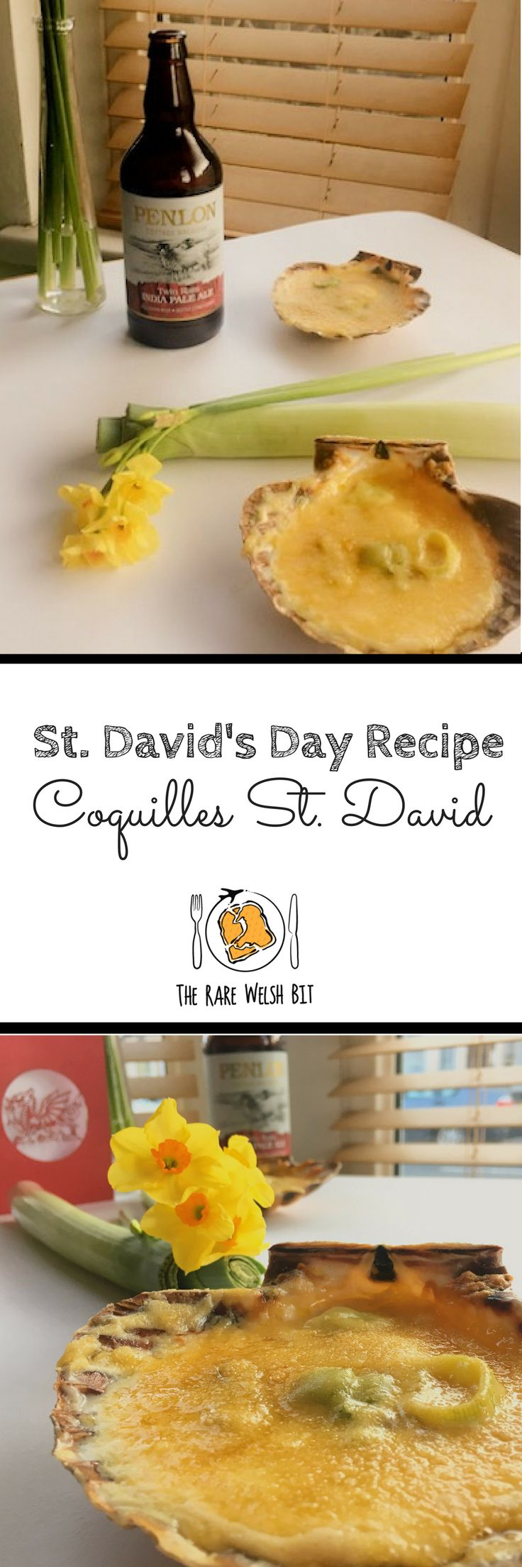 St. David's Day Welsh food recipes don't get much better than this - in a Welsh Rarebit twist on the traditional French dish, Coquilles St. David consists of scallops in shells with leeks, pale ale, Welsh cheese and mustard powder. #stdavidsday #wales #welshfood #welsh #welshrarebit #scallops #coquillestjacques #welshbloggers #thisiswales #gwladgwlad #fooddrinkwales