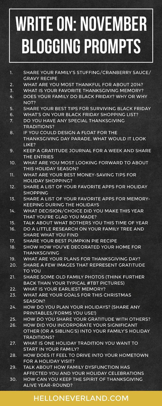 Write on: November blogging prompts (via Bloglovin.com )