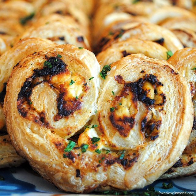 INA GARTEN'S GOAT CHEESE, PESTO, SUNDRIED TOMATO & WALNUT PALMIER recipe gateway: this post's link provides you with the blogger's effort in this bake and the above pinned result-image AND a direct link to the instructions are at http://www.foodnetwork.com/recipes/ina-garten/savory-palmiers-recipe.html [France] [Ina Garten]