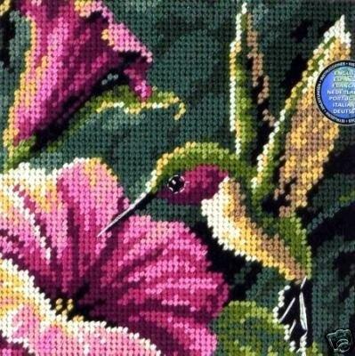 Dimensions #needlepoint #Hummingbird Drama ♥ #flowers #spring #mothersday #gift #decor #DIY #crafts #needlework #stitching #handmade