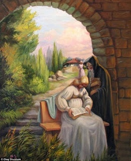 Ukrainian artist Oleg Shuplyak masters the optical illusion in his incredible scenic oil paintings.    Through strategically placed characters, objects and coloring, Shuplyak's surrealist works depict historical famous figures, including Darwin, Van Gogh and Shakespeare.    Shuplyak makes the second image so easily recognizable in many of his paintings, that observers might miss the original image.  from: http://www.huffingtonpost.com/2011/12/22/oleg-shuplyak-optical-illusions_n_1165746.html