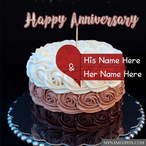 Double Heart Anniversary Cake Wishes Couple Name Photo My Name Pix Cards Happy Anniversary Cakes Beautiful Cake Pictures Anniversary Cake With Photo