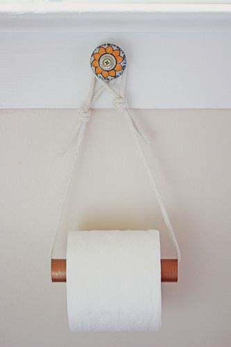 Copper Spray Paint PVC Pipe Rope Decorative Knob (or command hook)