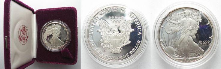 1986 Vereinigte Staaten von Amerika USA 1 Dollar 1986 S AMERICAN EAGLE Silber 1 Unze POLIERTE PLATTE m. Box # 95435 PP