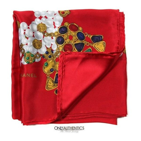 Chanel Red Silk Gripoix Scarf (£535) ❤ liked on Polyvore featuring accessories, scarves, silk shawl, pure silk scarves, red silk scarves, red shawl and jeweled scarves